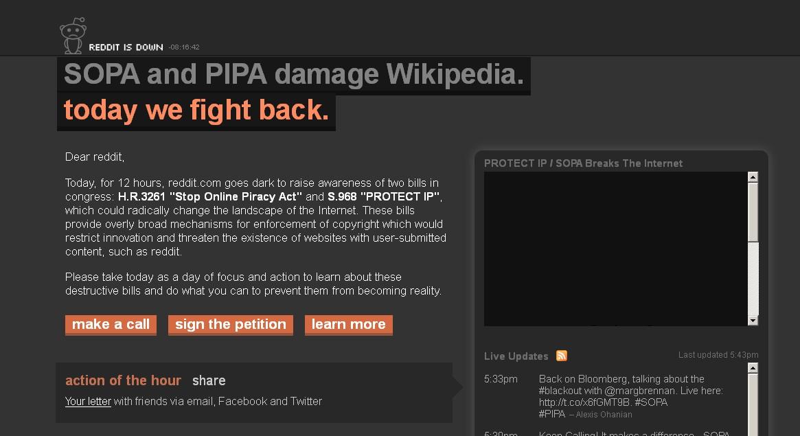 Reddit protesta contra la ley SOPA