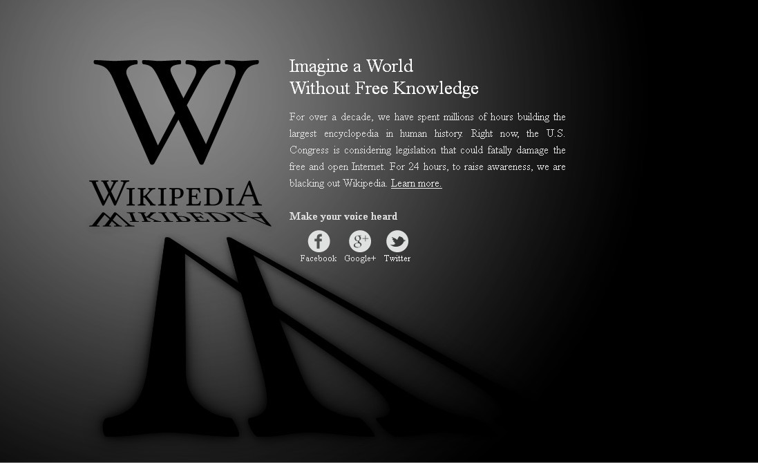 Wikipedia huelga anti-SOPA